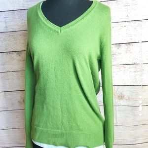 Gap Luxe Super Soft Spring Green V-Neck Sweater